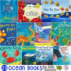 These ocean books for little learners are sure to take you away on a visit to the salty sea Join us as we dive right in with a stack of books that are full of sharks crabs fish seahorses and so much Preschool Books, Preschool Themes, Preschool Learning, Teaching, Toddler Books, Childrens Books, Ocean Activities, Educational Activities, Ocean Unit