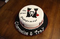 Engagement Cake Black Cats