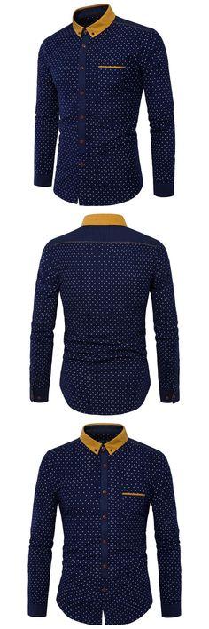 New 2017 Autumn Men Casual Shirts Fashion Long Sleeve Brand Printed Button-Up Formal Business Polka Dot Floral Men Dress Shirt