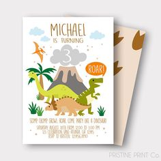 This Listing Is For The DIGITAL FILE Of Our Dinosaur Birthday Invitation Once Completed You Will Be Responsible Printing Whether From Home Or