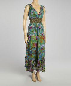 Look at this #zulilyfind! Green Patchwork Floral Maxi Dress by The OM Company #zulilyfinds