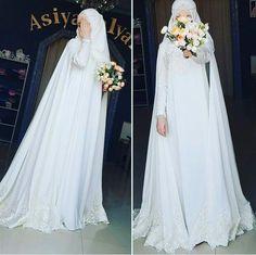 Simple yet elegant, Masha Allah Wedding Hijab Styles, Muslim Wedding Dresses, Princess Wedding Dresses, Dream Wedding Dresses, Boho Wedding, Wedding Abaya, Muslim Brides, Gothic Wedding, Floral Wedding