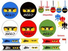 "THEME ""MAITRE NINJA"" tout noir - 1 et 2 et 3 DOUDOUS * PATRONS* PATTERNS * GABARITS FETE A THEMES POUR ENFANTS Lego Ninjago, Ninjago Party, Ninja Birthday, Lego Birthday Party, Birthday Kids, Printable Labels, Party Printables, Deco Lego, Ninja Cake"