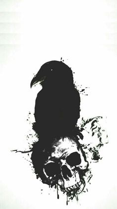 Dark Drawings, Tattoo Drawings, Body Art Tattoos, Skull Wallpaper, Wallpaper Backgrounds, Wallpapers, Arte Horror, Horror Art, Raven Art
