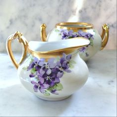 EXQUISITE Limoges Violets Creamer and Sugar Bowl by HamiltonBay, $60.00