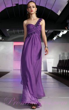Beading One Shoulder Purple Girls Prom Dresses