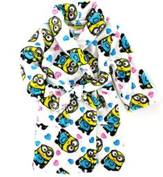 Despicable Me 2 I Love Minions Minion Girls Plush Robe Bathrobe White >>> You can get additional details at the image link. We are a participant in the Amazon Services LLC Associates Program, an affiliate advertising program designed to provide a means for us to earn fees by linking to Amazon.com and affiliated sites.