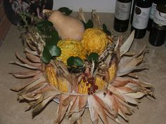 composition with ornamental corn and gourds