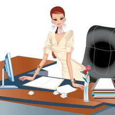 Mujer trabajadora Negocios, imagen vectorial.