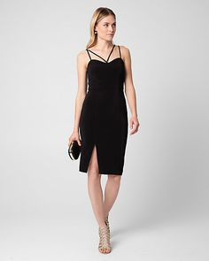 Ottoman Knit V-Neck Cocktail Dress - A strappy halter neck lends a modern twist to a timeless ottoman knit cocktail dress with a body-flattering silhouette and thigh-high front slit.