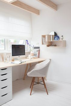 Estudio LileSadi + Siebring & Zoetmulder // Studio / office - all white / neutrals - wood / plywood - chair - shelves / storage - window / natural light - curtain / Roman shade - white floor