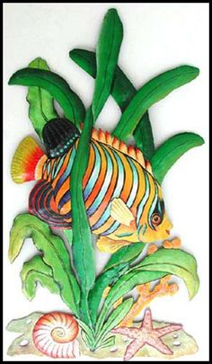 "Regal Angelfish Tropical Fish - Hand Painted Metal Wall Hanging - 20"" x 11""Tropical Décor – Caribbean Décor - Coastal Décor – Tropical Decorating – Tropical Style –Interior Design - Beach Cottage Decor - Home Décor – Hand Painted Decor – Haitian Steel Drum Designs  ++++  See more decorative handcrafted items at www.HaitiGallery.com"