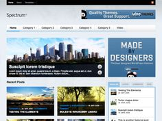 Spectrum is a visually rich magazine theme for content rich sites showcasing their content with beautiful imagery. It's packed with 7 widgetized regions and lots of custom woo widgets, like a video player, Flickr and Twitter streams, to customize huge amounts of the theme on the fly.