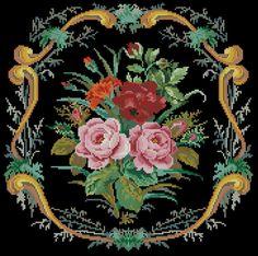 Gallery.ru / Фото #34 - Вышивки моей мамы (и схемы к ним) - livadika Cross Stitch Pillow, Cross Stitch Charts, Antique Roses, English Roses, Rose Bouquet, Hama Beads, Beautiful Roses, Needlepoint, Needlework