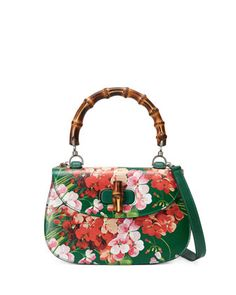 Bamboo Classic Blooms Small Top-Handle Bag, Green by Gucci at Neiman Marcus.