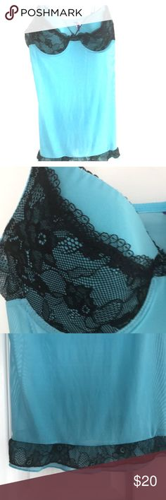 Lingerie/ Sheet teal nightie Molded cups /black lace trim /very stunning  (sized as Large but fits more like a medium)   Mint condition /never worn Intimates & Sleepwear Pajamas