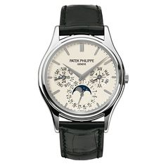 Patek Philippe Grand Complications Perpetual Calendar 5140g-001 Watch (1 895 735 UAH) ❤ liked on Polyvore featuring men's fashion, men's jewelry, men's watches, mens white gold watches, men's blue dial watches and patek philippe mens watches