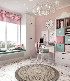 Room for a little princess on Behance Cool Kids Bedrooms, Kids Bedroom Designs, Kids Room Design, Home Room Design, Home Interior Design, Girls Bedroom, Baby Room Decor, Bedroom Decor, Home Decor Furniture