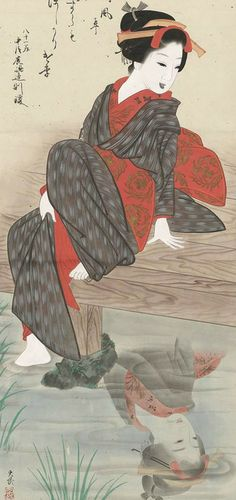 Woman Refected. Main detail of a hanging scroll; ink and color on silk, 19th century, Japan by artist Taibu.