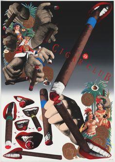 Available for sale from Komiyama Tokyo, Tadanori Yokoo, Cigar Club Silkscreen, 103 × 73 cm Tadanori Yokoo, Moma Collection, Cigar Club, Film Studies, List Of Artists, Film Stills, Artist Names, Akira, Textile Design