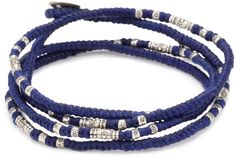 M.Cohen Hand made Designs Multi Wrap Blue Cord with Sterling Silver Bead Bracelet