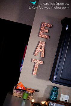 Pennies on letters. Easy copper art. This is cute!