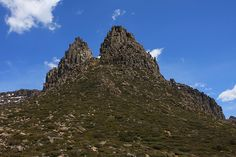 Ascent route of Mount Ossa between the two spires.