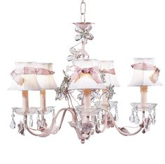 Chandelier - 5-Arm - Crystal Flower - Pink w/ Chandelier Shade - White | Jack and Jill Boutique