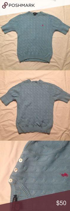 Ralph Lauren Sweater Baby blue sweater. 100% cotton. Buttons on the left shoulder. Considerably stretchy. Ralph Lauren Sweaters Crew & Scoop Necks