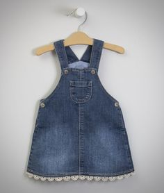 Denim Baby Girl Dress Patterns, Little Girl Dresses, Baby Dress, Baby Jeans, Denim Jeans Men, Junior Outfits, Kids Outfits, Fair Isle Pullover, Baby Girl Shirts