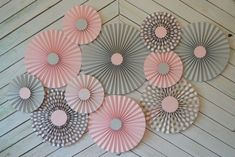 Set of 11 (ELEVEN) Pink, Grey and Polka Dot paper fans/rosettes, decorations for…