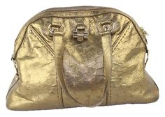 Yves Muse Easy Town Ostrich Metallic Hobo Satchel Gold Tote Bag – Bagriculture
