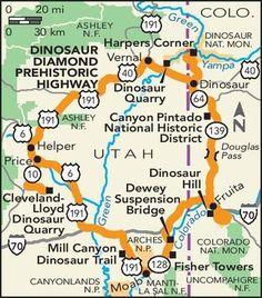 Dinosaur Diamond Prehistoric Highway Road Trip -- National Geographic Map of Dinosaur Prehistoric Drive through dinosaur fossil sites in Colorado and Utah Rv Travel, Travel Advice, Family Travel, Places To Travel, Family Trips, Travel Ideas, Dinosaur Colorado, Utah Vacation, Road Trips