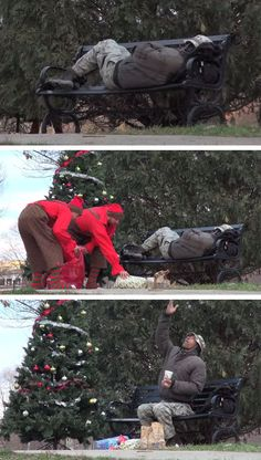 """""""Elfos"""" surpreendem morador de rua com enfeites, presentes de natal e comida.-Christmas Elves Surprise The Homeless With Food And Gifts."""