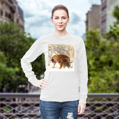 Tiger style Unisex long sleeved T shirt (Please state sizes when ordering thank you)
