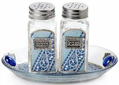 Glass Salt and Pepper Shaker Set for Shabbat with Fine Blue Motif by World of Judaica. $29.00. Your order includes 1 item(s).. Material: Glass. You will be pleasantly surprised! The vast majority of our shipments arrive within 10-14 business days from time of shipment, far in advance of Amazon's default calculation of shipping times for items shipped from Israel.. Dimensions: 15. Spice up your family's Shabbat table with this intricately designed salt and pepper shaker set, f...
