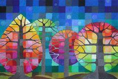 GRANDE cortile con le lucciole sono alberi geometrici arcobaleno con dettagli dipinti a mano in stampe d