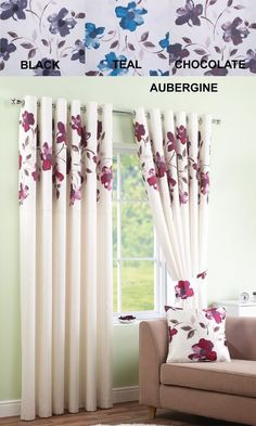 Ring Top Fully Lined Pair Eyelet Ready Made Curtains Floral Bedroom