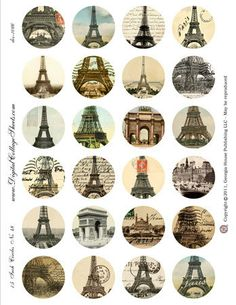 Shop for on Etsy, the place to express your creativity through the buying and selling of handmade and vintage goods. Bottle Cap Art, Bottle Cap Images, Vintage Tags, Vintage Labels, Paris Cards, Paris Poster, Etiquette Vintage, Paris Images, Pintura Country