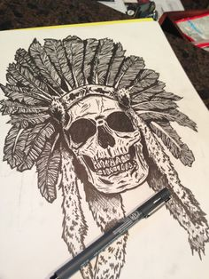 Skull pen and ink. Hand drawn. Crazy!