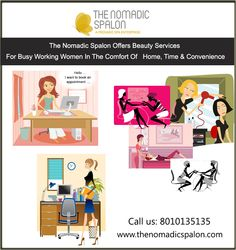 The Nomadic spalon offers #Beauty services for busy working #women  In the comfort of your Home, your time and your convenience. #TheNomadicSpalon are awaiting your call...call us on 8010135135!!!!!! www.thenomadicspalon.com  #Spa #SpaAtHome #Makeup #BestSpaInDelhiNCR