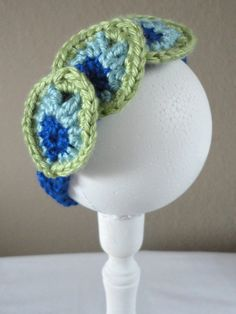 Crochet Peacock Headband - maybe wider band to be warm in winter?