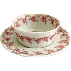 Early 1900s Limoges France Bawo and Dotter Elite Works Bridal Wreath Ramekin and Underplate for Higgins & Seiter