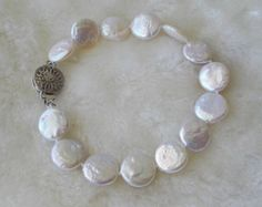free shipping- pearl bracelet,coin pearl bracelet, 12 mm white coin pearl bracelet