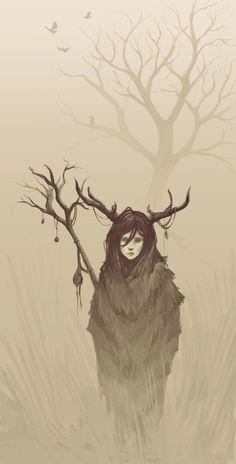 Digital sketch 'forest girl'