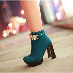 Womens Boots | Graceful Metal Button Blue Leather Round Closed Toe Chunky Super High Heel Boots - Hugshoes.com