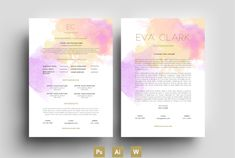 Purpele/Water Color/CV/Template by Emily's ART Boutique on @creativework247