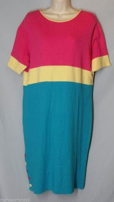MARK FORE & STRIKE size M Medium Colorblock Jersey Knit Shift Dress Pink Teal