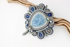 Blue beaded brooch hand embroidered pin grey soutache brooch