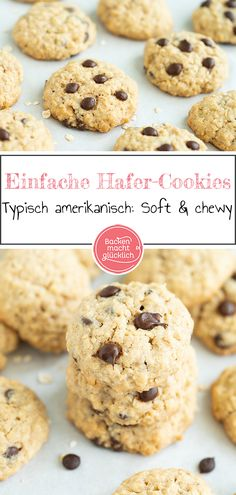 Simple Oatmeal Cookies with Chocolate Baking makes you happy - Backen mit Kindern Rezepte -